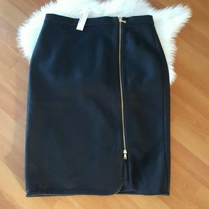 NWT J. Crew womens black wool pencil skirt sz 10